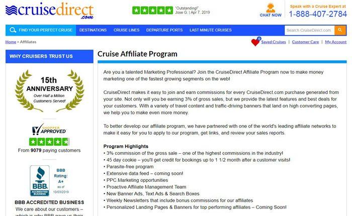 CruiseDirect Affiliate Program-Booking-Cruise