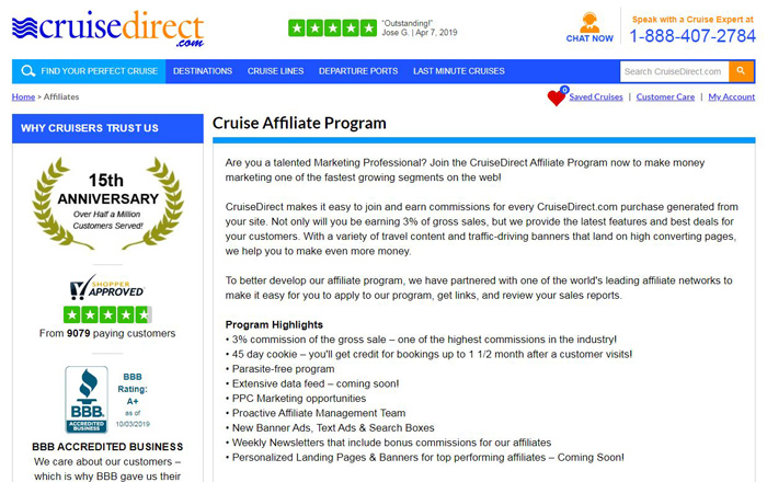 CruiseDirect Affiliate Program-Booking-Cruise